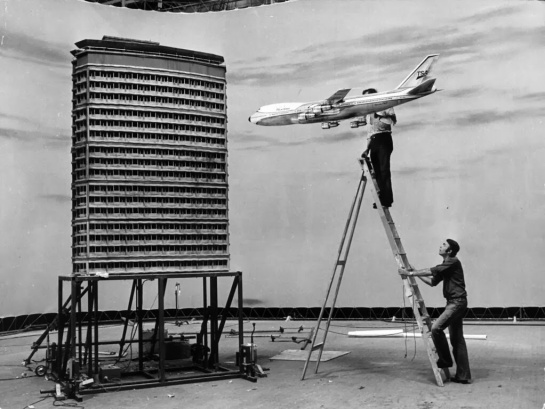 Making of airplane crash scene for the movie 'The Medusa Touch', 1978